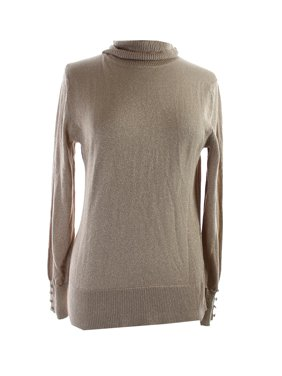 829122bd5f Product Image Cable   Gauge Gold Metallic Button-Sleeve Ribbed Turtleneck  Sweater L