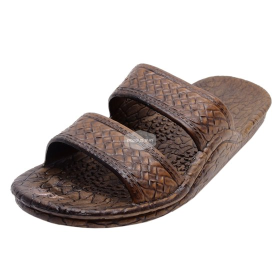 4b3129fba2849 These soft flexible sandals made with two weave-pattern straps feature an  air pocket foot bed. Pali Hawaii Dark Brown Jesus Hawaiian Sandals Jandals