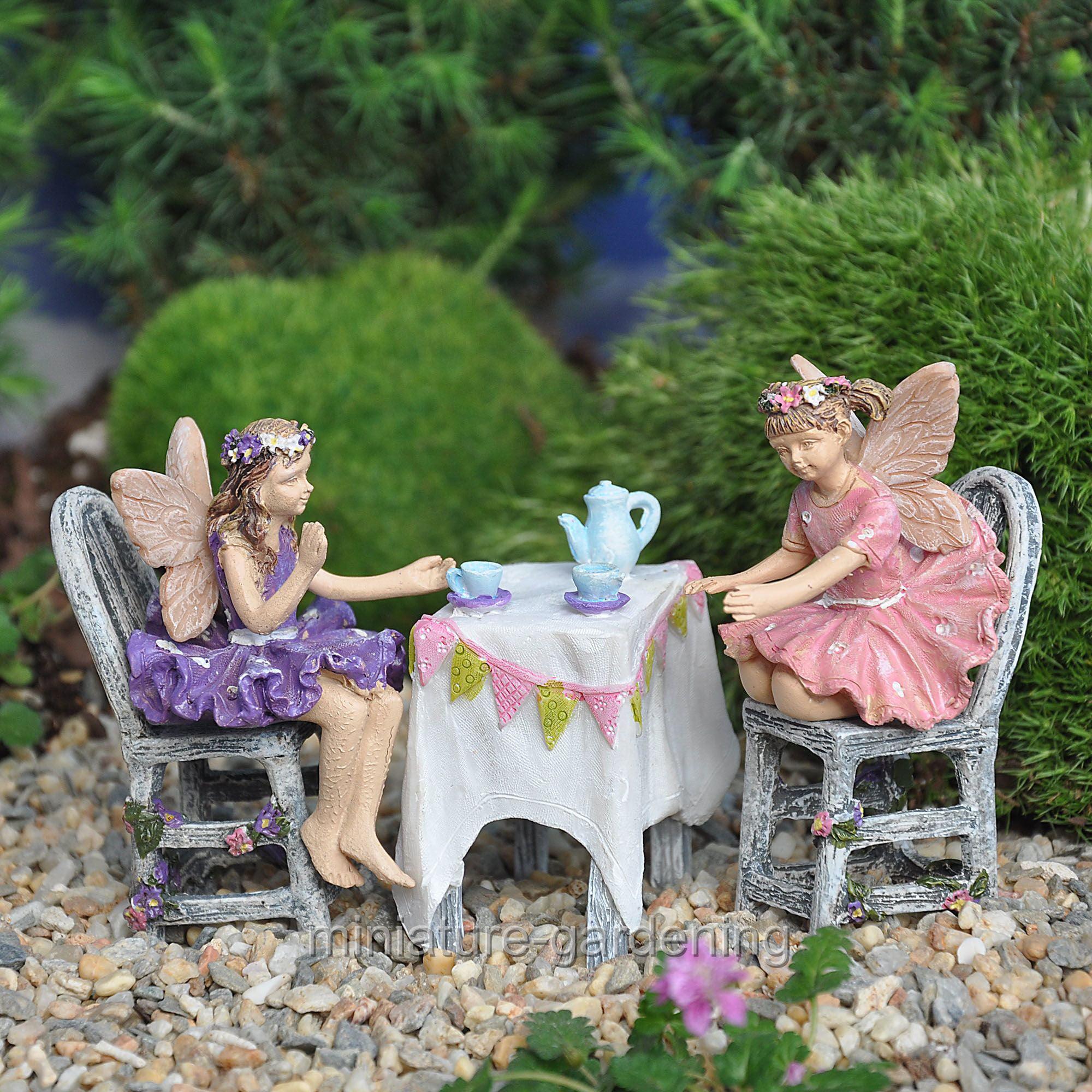Wholesale Fairy Gardens Fairies Afternoon Tea, 5 Piece Set for Miniature Garden, Fairy Garden