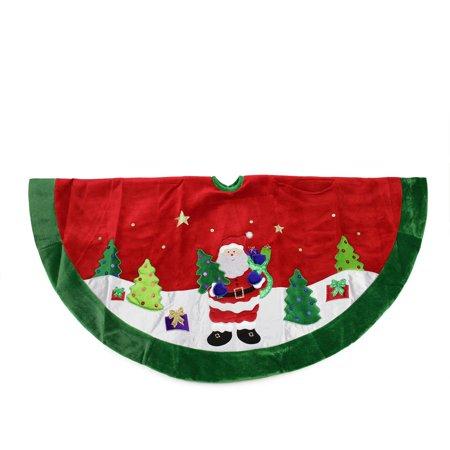 48 red velveteen santa claus sequined christmas tree skirt with green trim - Walmart Christmas Tree Skirts