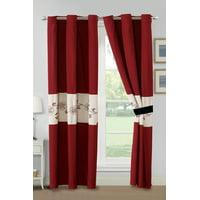 4-Pc Lavika Floral Blossom Embroidery Curtain Set Burgundy Red Black Beige Grommet Drape Sheer Liner