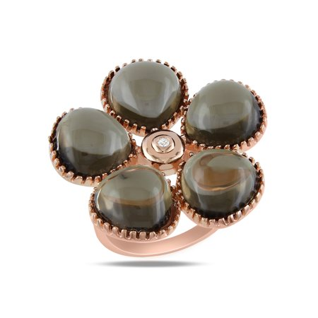 Tangelo 15 Carat T.G.W. Smokey Quartz and Diamond-Accent Rose-Plated Sterling Silver Flower Ring