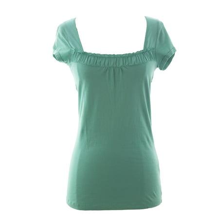 - VELVET by Graham & Spencer Women's Square Neck Short Sleeve Top Small Jade