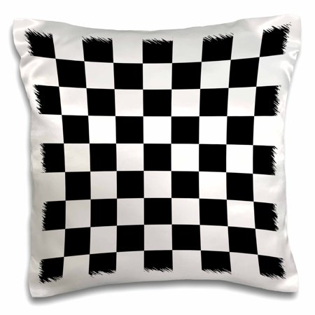 3dRose Check black and white pattern - checkered checked squares chess checkerboard or racing car race flag, Pillow Case, 16 by 16-inch