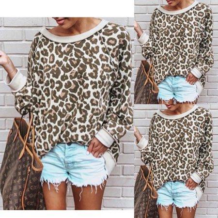 Fashion Lady Casual Leopard Print Top T-Shirt Women Autumn Loose Blouse