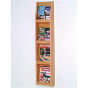 Narrow Brochure & Magazine Wall Display Rack (Light Oak)