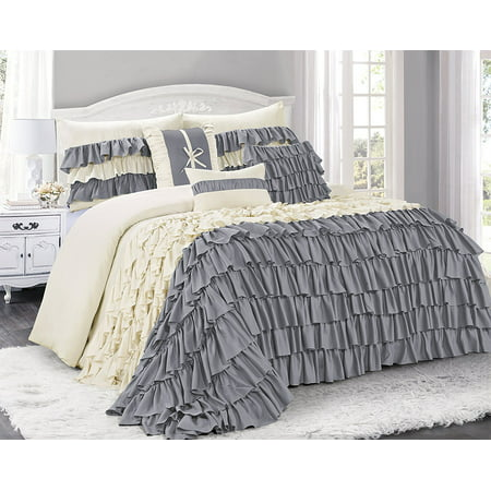 Unique Home 7 Piece Brise Double Color Ruffled Bed In A Bag Clearance Bedding Comforter Duvet Set Fade Resistant, Super Soft (King, (King Comforter Set 18 Ruffle)