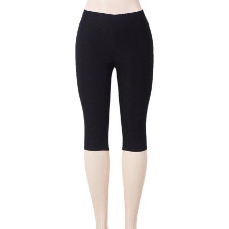 Seamless Capri Leggings - SAYFUT Women's Solid Color Capri Leggings High Waist Seamless Stretchy Tights Pants Black Size S-3XL