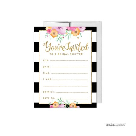 Floral gold glitter wedding blank bridal shower invitations with floral gold glitter wedding blank bridal shower invitations with envelopes 20 pack filmwisefo Choice Image