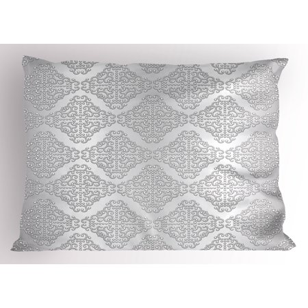 Silver Pillow Sham Damask Inspired Floral Motifs in Symmetrical Old Fashioned Design Swirls and Curls, Decorative Standard King Size Printed Pillowcase, 36 X 20 Inches, Silver White, by Ambesonne