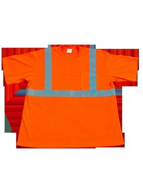petra roc ots2-l ansi class 2 high-vis wicking birdseye mesh 1-chest pocket safety t-shirt, large, orange