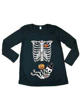 Long Sleeve Halloween Skeleton Baby Costume Horror Maternity DT T-Shirt Tee
