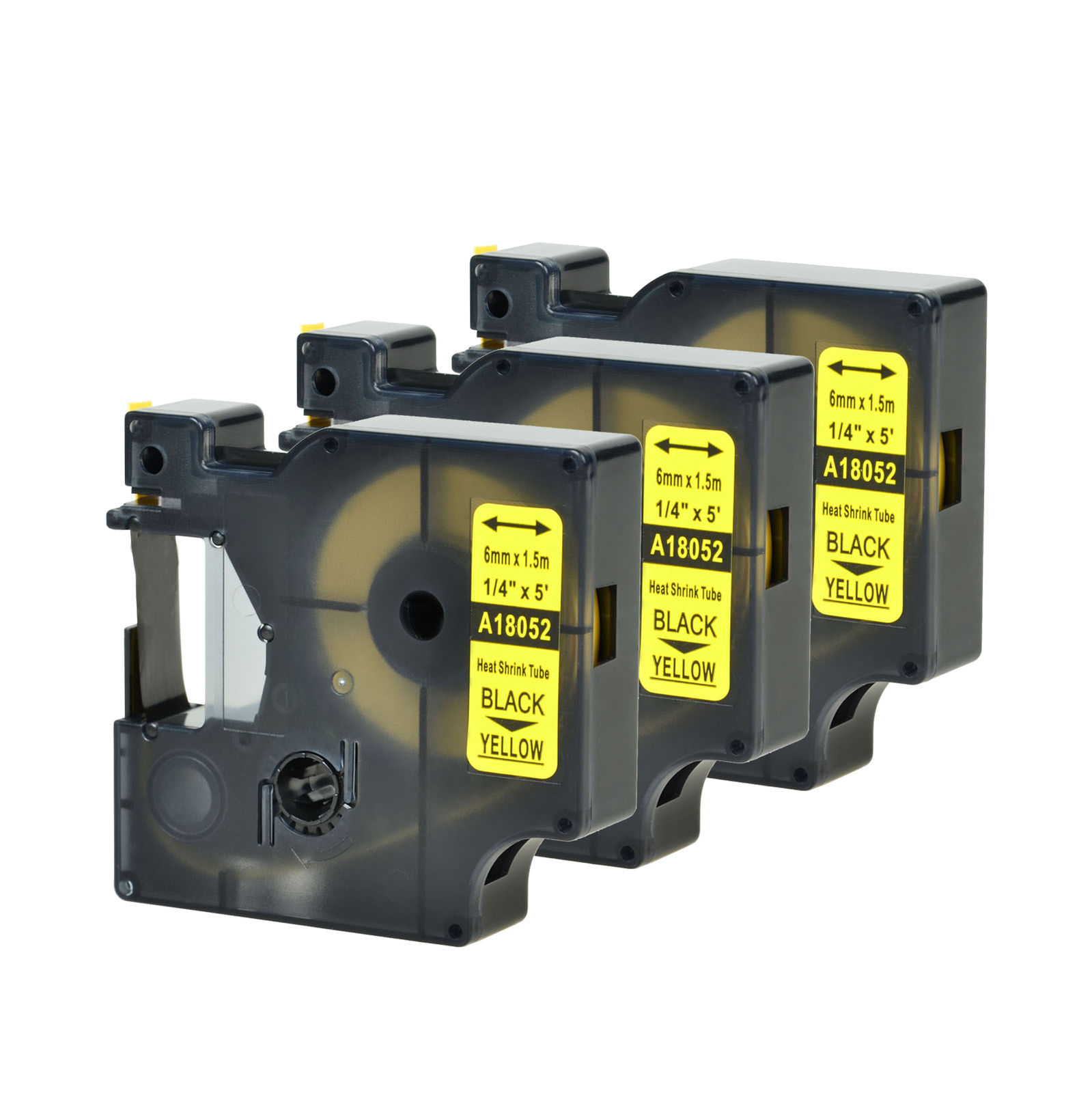 """2 Heat Shrink Tube Label IND Tape Black on Yellow 18052 For Dymo Rhino 3000 1//4/"""""""