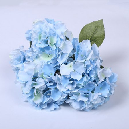 Artificial Silk Hydrangea Bouquet Fake Flowers Arrangement Home Wedding decor,1 Bunch of 5 flowers ,Light Blue