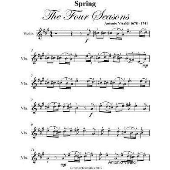 Spring Four Seasons Easy Violin Sheet Music Ebook