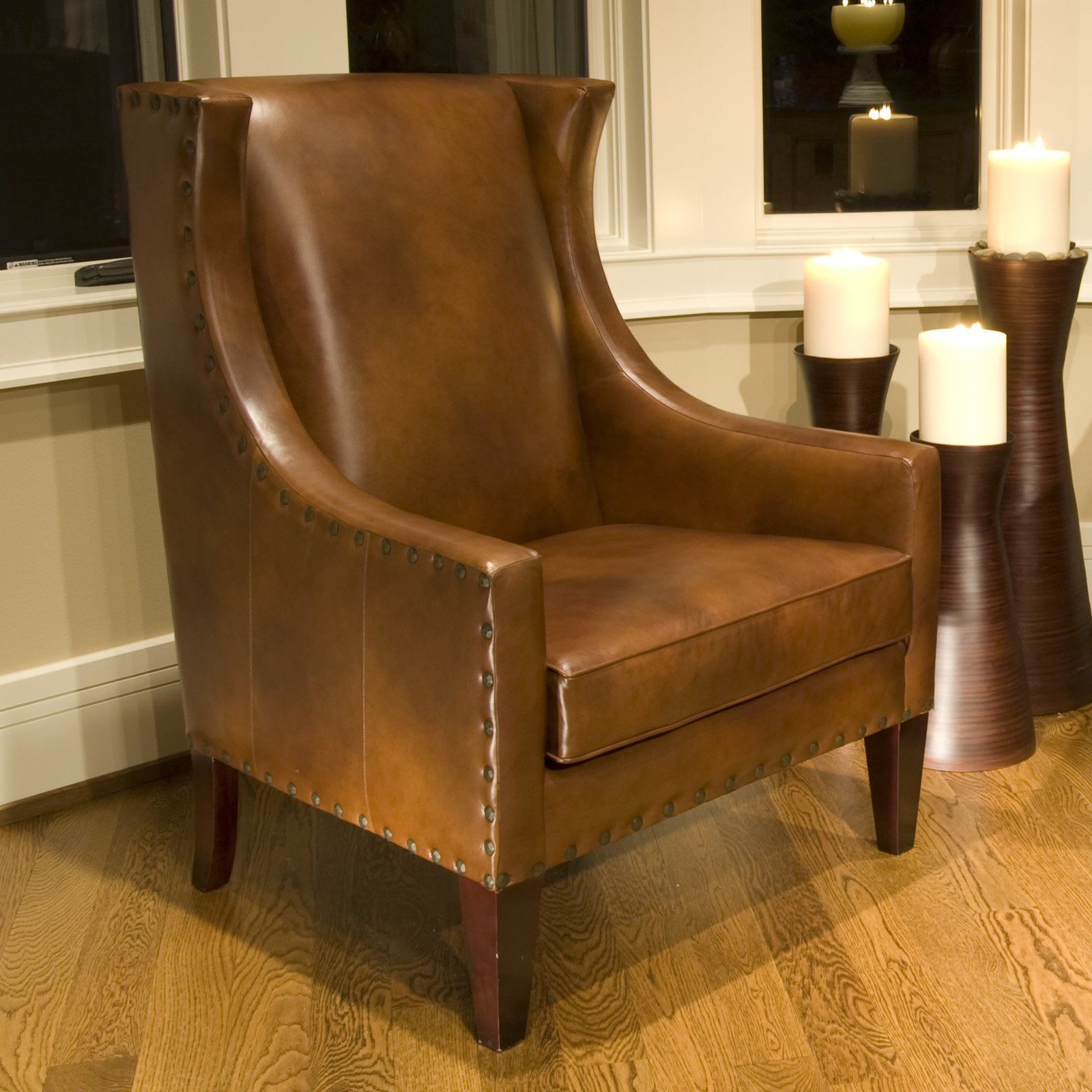 Bristol Top Grain Leather Accent Chair in Rustic Color