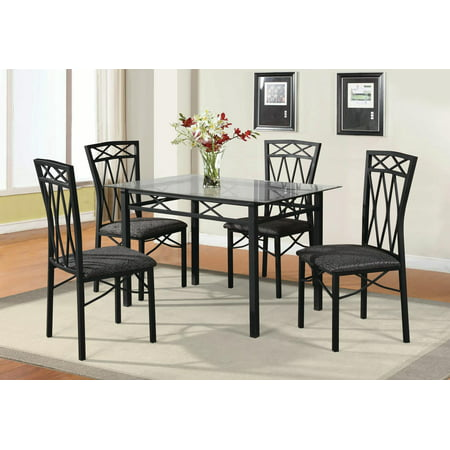 Home Source Pinnacle Pierre 5-Piece Dining Set with Glass Table and 4 Matching Side Chairs ()