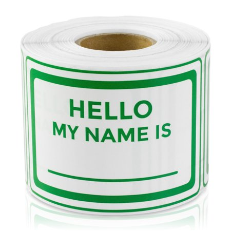 "OfficeSmartLabels 3"" x 2"" Hello My Name is Labels for Name Tags, Badges, Visitor Badge (Green, 300 Labels per Roll)"