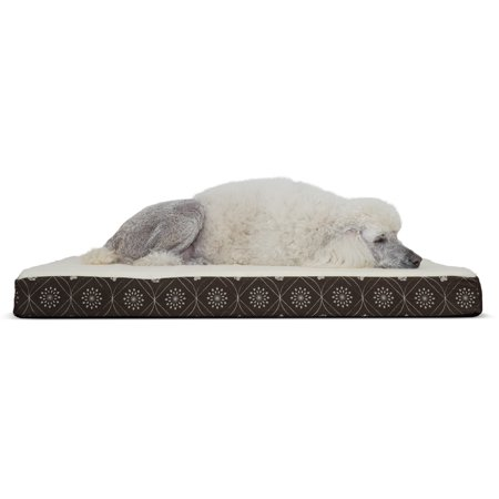 Paw Cat Bed (FurHaven Pet Dog Bed | Deluxe Orthopedic Faux Sheepskin Mattress Pet Bed for Dogs & Cats, Dark Espresso, Jumbo )