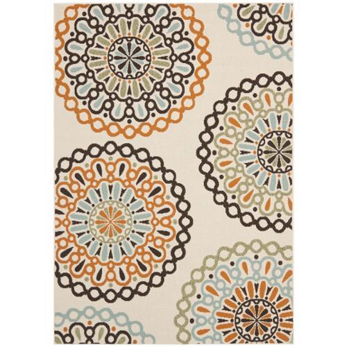Safavieh Veranda Piled Indoor/ Outdoor Cream/ Terracotta Rug (5'3 x 7'7)