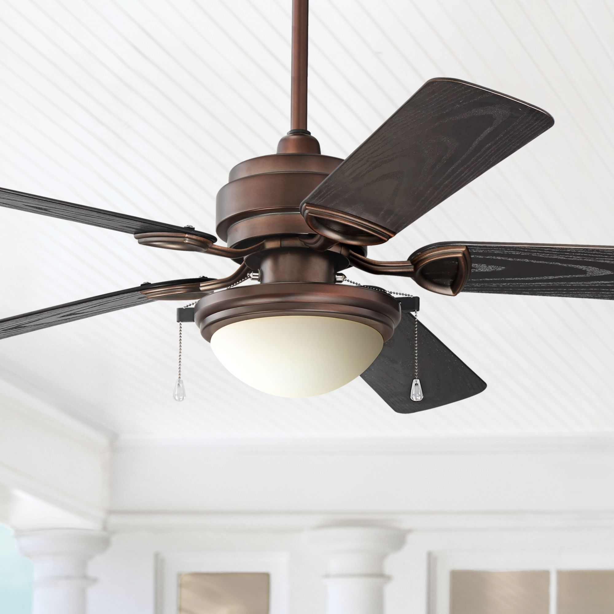 Merrimack 52-in Antique Bronze Downrod Mount Indoor//Outdoor Ceiling Fan with Light Kit and Remote