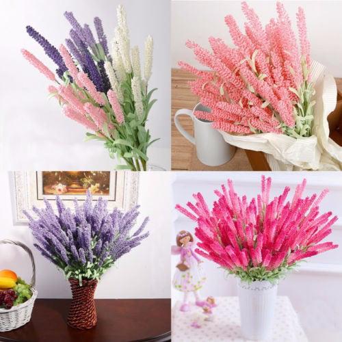 1 Bouquet 12 Heads Artificial Lavender Flowers Leaves Bouquet Wedding plastic_flower Home Garden Decor