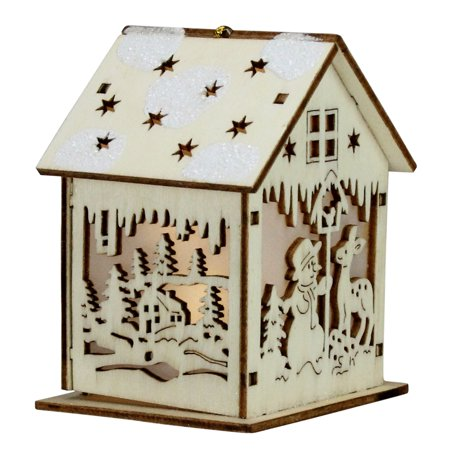 """3.75"""" Lighted Laser Cut Wooden House with Snowman Hanging Christmas Ornament"""