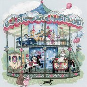 """Carousel-Counted Cross-Stitch Kit, 13.75"""" x 13.75"""", 14-Count"""