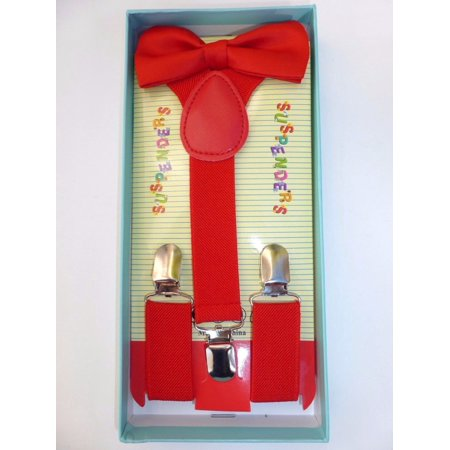 Kids RED Suspenders Bow Tie Boxed Set Baby Toddler Child Red Gift Box Set USA - Red Bowtie And Suspenders