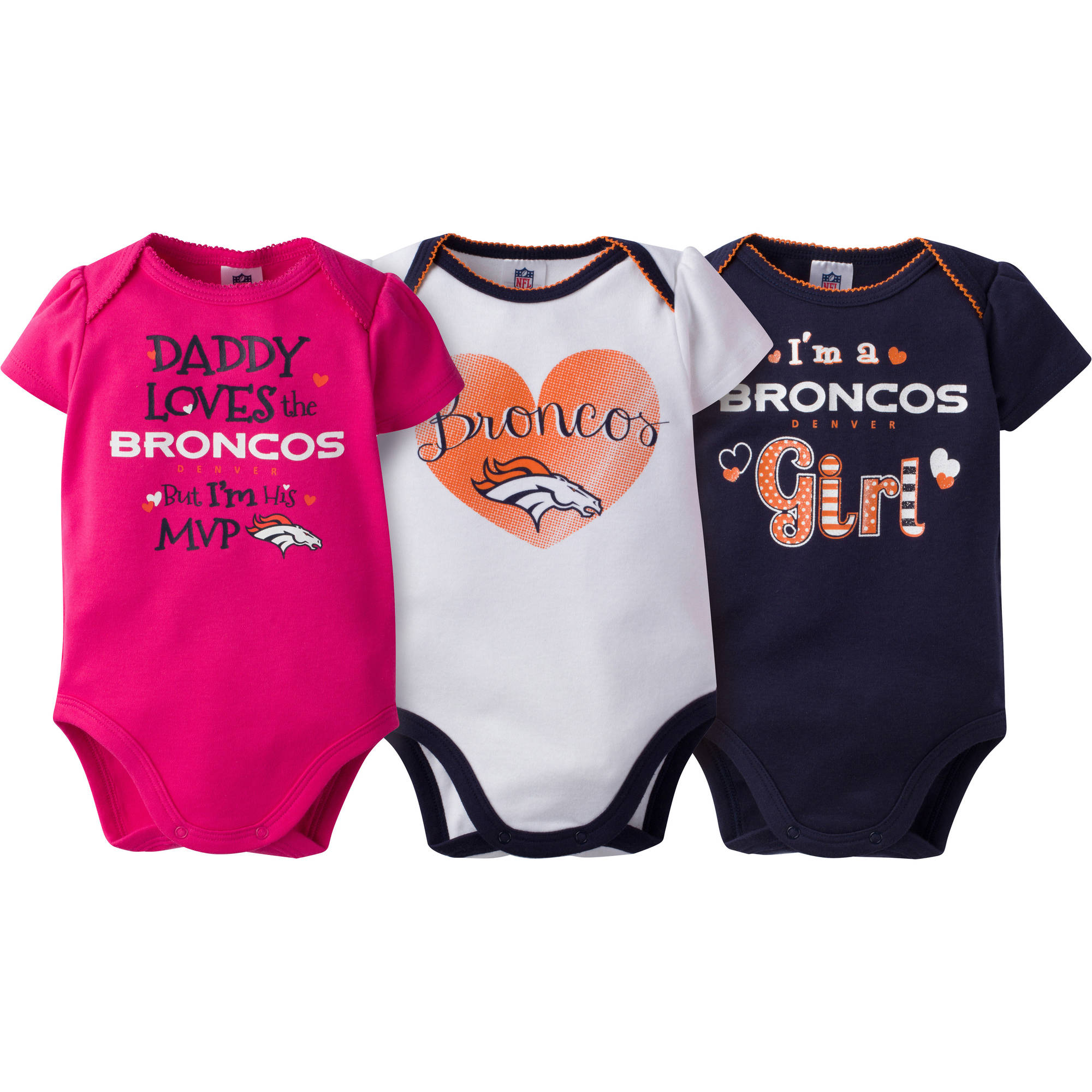 NFL Denver Broncos Baby Girls Short Sleeve Bodysuit Set, 3-Pack