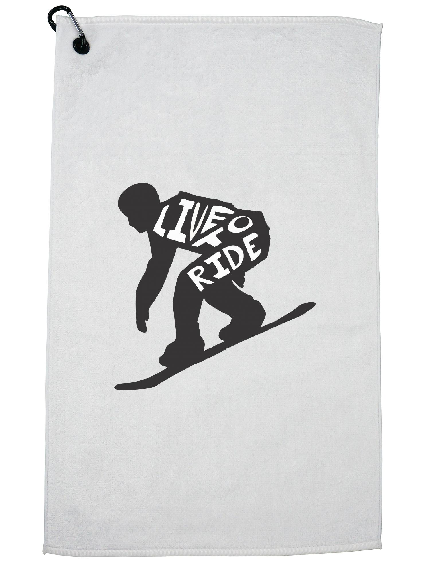 Trendy Snowboard Live to Ride Silhouette Skiing Golf Towel with Carabiner Clip by Hollywood Thread