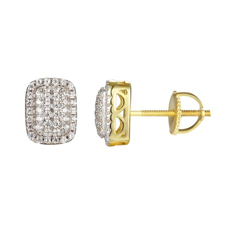 Rectangle Design Earrings Gold Finish Solitaire Simulated Diamond 925 Silver On