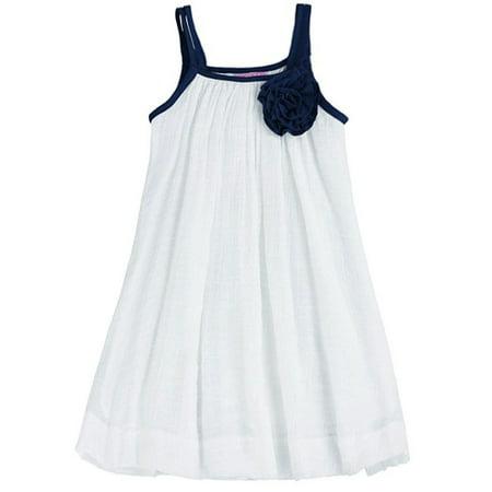 Dress For Kid Girl (Lele For Kids Little Girls White Contrast Rosette Accent Casual)