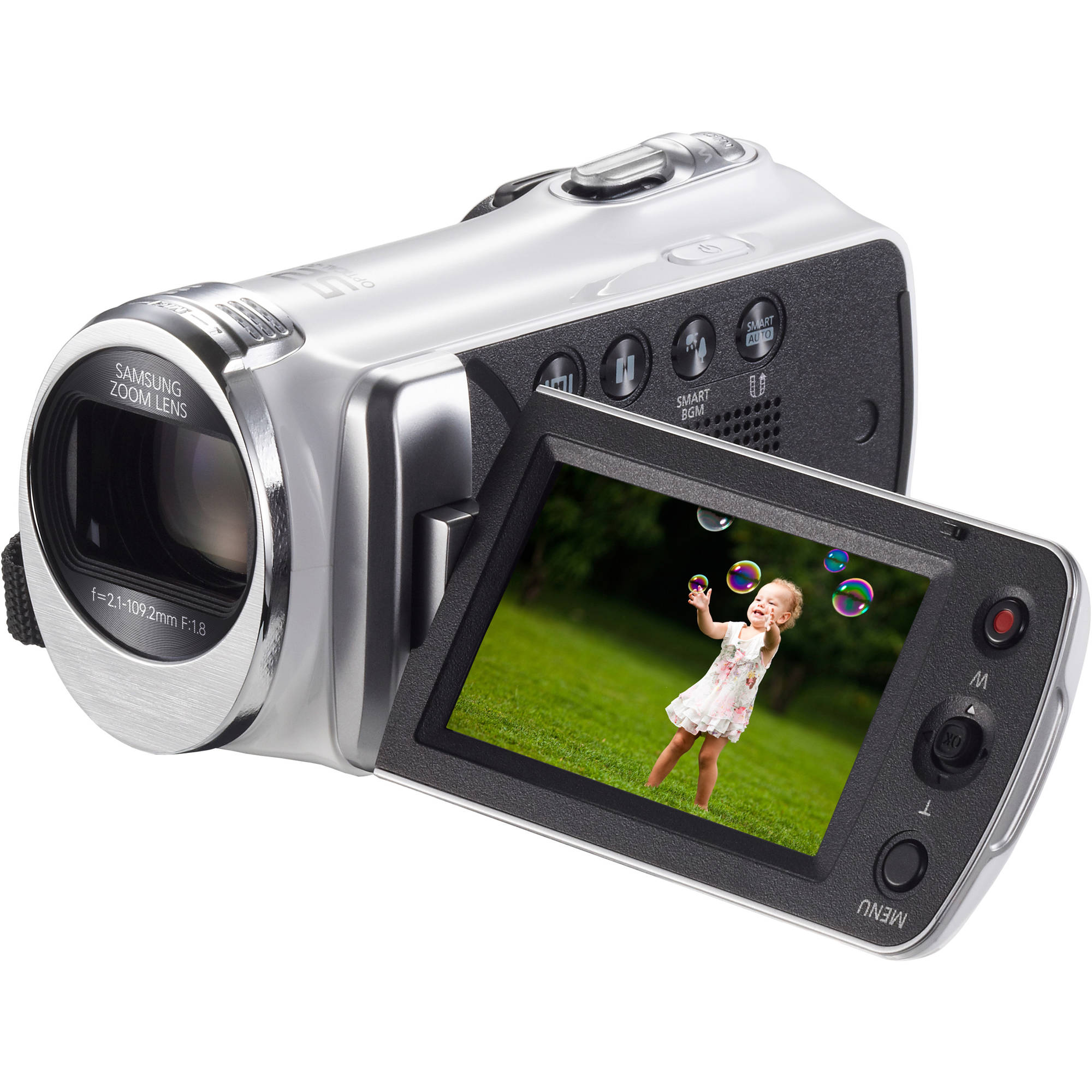 "Samsung White HMX-F90 HD Camcorder with 52x Optical Zoom, 2.7"" LCD Display"