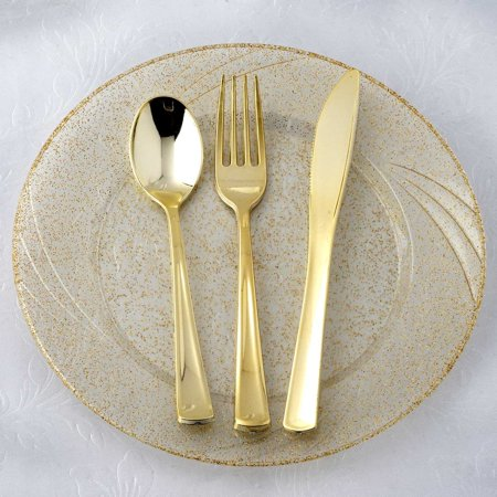 Efavormart Metallic Gold Disposable Plastic Cutlery Set for Wedding Party Banquet Events Candy Buffets - Pack of 48 (Medium Weight Plastic Cutlery)