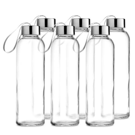 clear glass 18 ounce water bottle with stainless steel caps and carrying loops 6 pack. Black Bedroom Furniture Sets. Home Design Ideas
