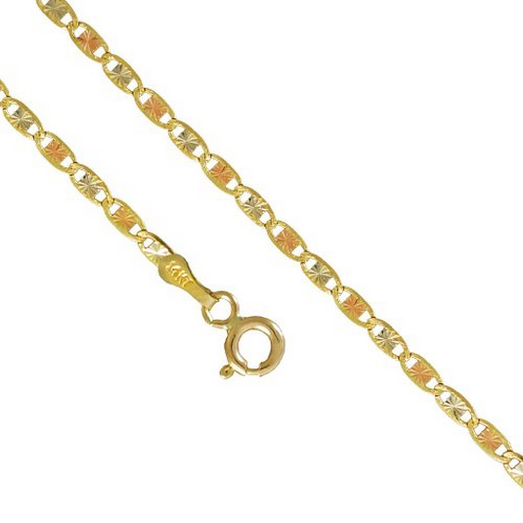 14K Yellow Rose Gold Men Women's 2.1MM Valentino Tri Color Necklace Chain Link Lobster Clasp, 16-24 Inches (16)