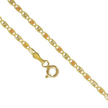 14K Yellow Rose Gold Men Women's 2.1MM Valentino Tri Color Necklace Chain Link Lobster Clasp, 16-24 Inches (16) 14k Gold Owl Charm