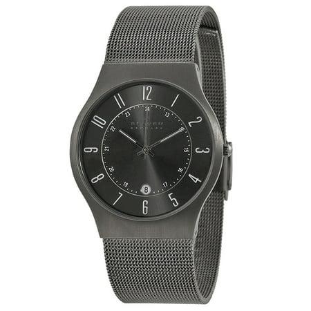 Skagen Titanium Watch - Men's Grenen Titanium Case Stainless Steel Mesh Gray Watch 233XLTTM