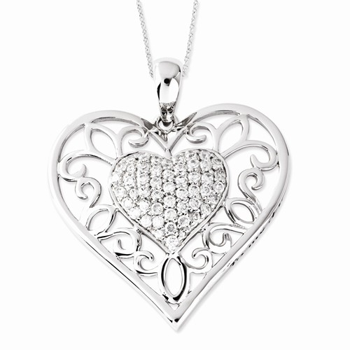 Sterling Silver Antiqued CZ To My Daughter 18in Heart Nec...