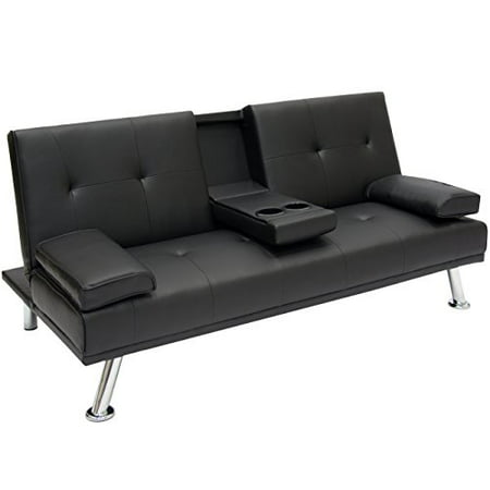 Best Choice Products Modern Entertainment Futon Sofa Bed Fold Up & Down Recliner Couch With Cup Holders