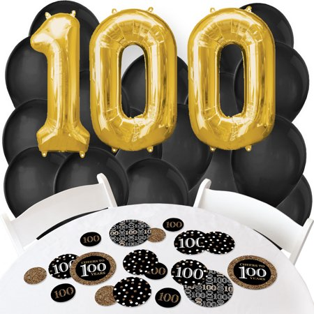 Adult 100th Birthday - Gold - Confetti and Balloon Birthday Party Decorations - Combo - 100th Birthday Party Decorations