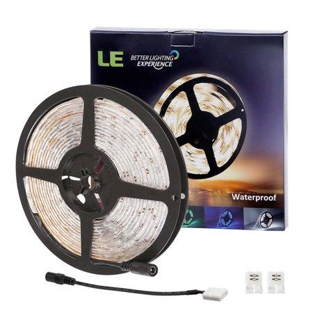 Lighting EVER 16.4ft/ 5m 12V LED Light Strip 300 Units 3528 LEDs Waterproof Daylight White Spool LED Christmas Lights](led light led light)