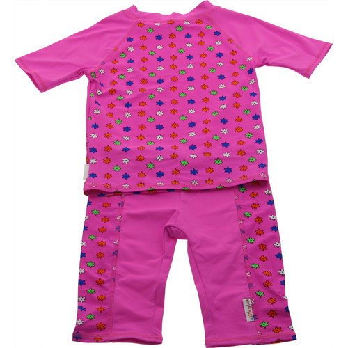 A Little Splash Two Piece Nylon / Spandex Rush Guard in Floral Pink Print