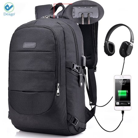 fb975c8779de Deago Laptop Backpack, Business Anti Theft with lock Waterproof Travel  Backpack with USB Charging Port for Laptops up to 17 inches (Black)