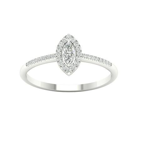 White Topaz Marquise Ring (IGI Certified Imperial 1/5Ct TDW Diamond 10k White Gold Marquise Diamond Halo Promise Ring (H-I, I2) )