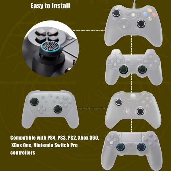 Insten 4pcs PS4 PS3 PS2 Xbox 360 Xbox One Controller Thumbstick Grips  Black/White Silicone Thumb Analog Stick Cover Caps for Xbox 360 Xbox One  PS4 PS3