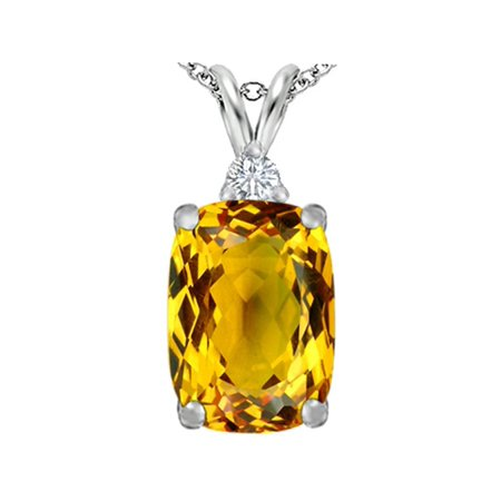 Star K Large 14x10mm Cushion Cut Simulated Citrine Pendant Necklace in Sterling Silver