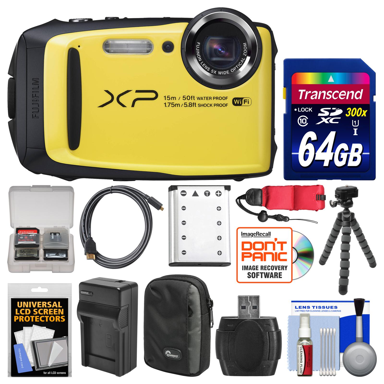 Fujifilm FinePix XP90 Shock & Waterproof Wi-Fi Digital Camera (Yellow) with 64GB Card + Case + Battery & Charger + Flex Tripod + Strap + Kit