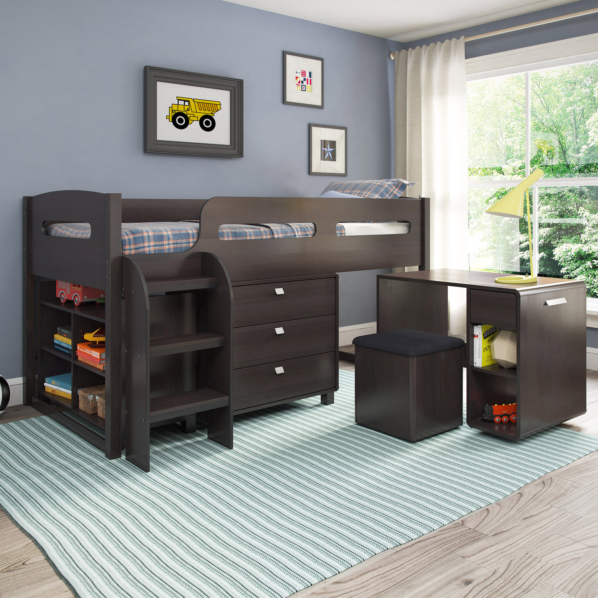 Twin loft bed with storage - Corliving Madison 5 Piece All In One Twin Loft Bed Multiple Colors Walmart Com